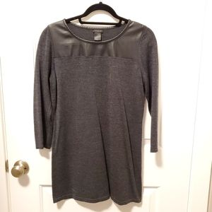 3/$59 Charcol tunic w/faux leather detail - medium
